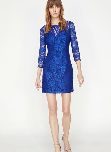 Koton Dantel Detaylı Elbise Mavi